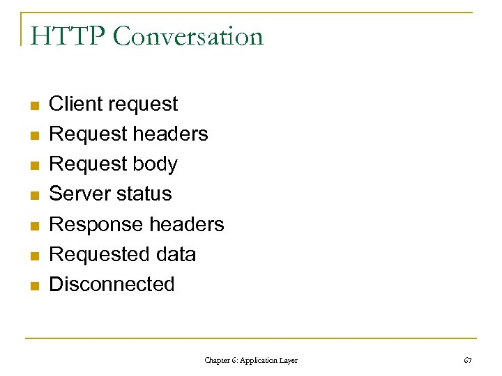 HTTP Conversation n n n Client request Request headers Request body Server status Response