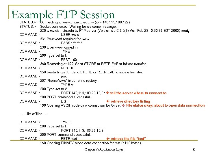 Example FTP Session STATUS: > Connecting to www. cis. nctu. edu. tw (ip =