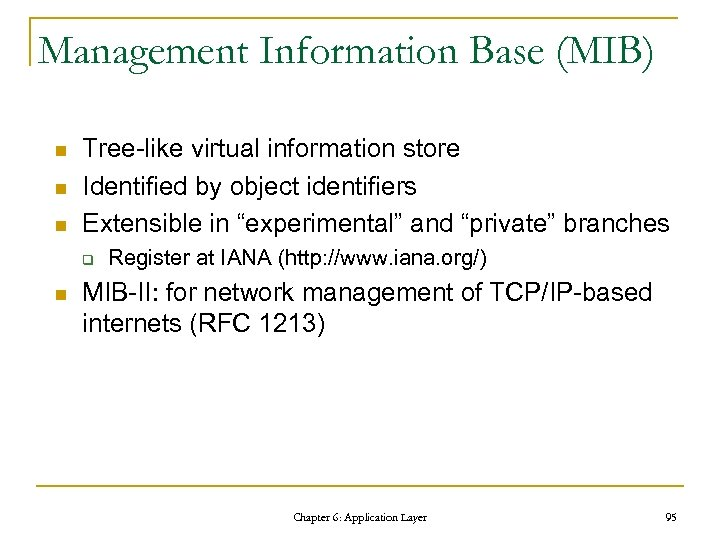 Management Information Base (MIB) n n n Tree-like virtual information store Identified by object