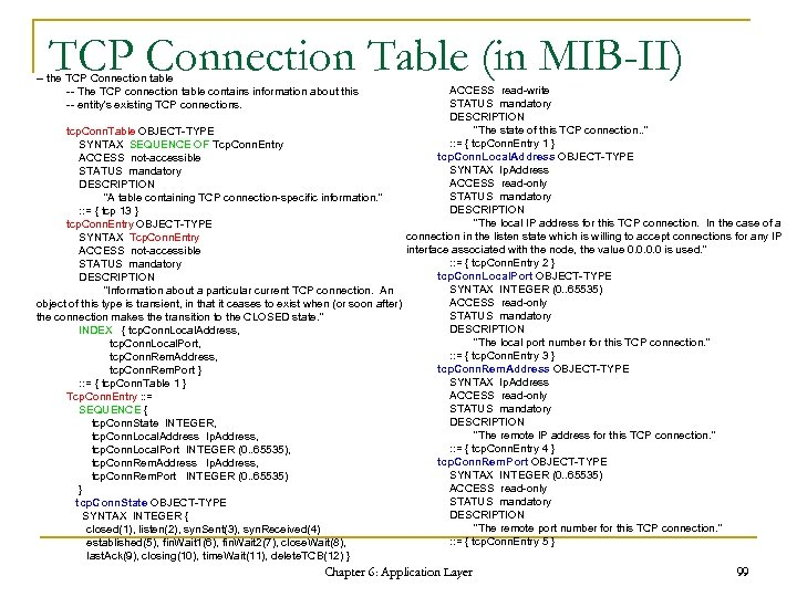 TCP Connection Table (in MIB-II) -- the TCP Connection table -- The TCP connection