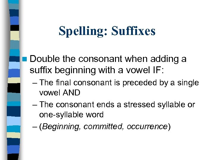 Spelling: Suffixes n Double the consonant when adding a suffix beginning with a vowel