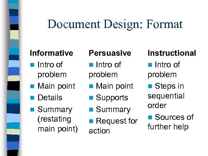 Document Design: Format Informative n Intro of problem n Main point n Details n