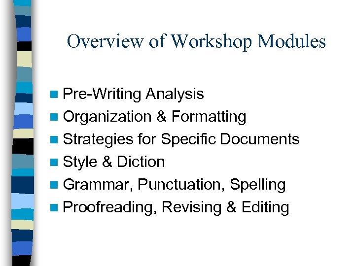 Overview of Workshop Modules n Pre-Writing Analysis n Organization & Formatting n Strategies for
