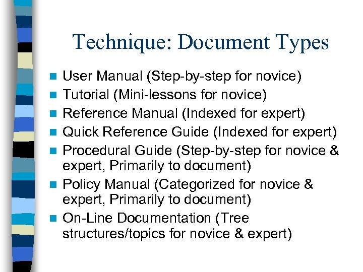 Technique: Document Types n n n n User Manual (Step-by-step for novice) Tutorial (Mini-lessons