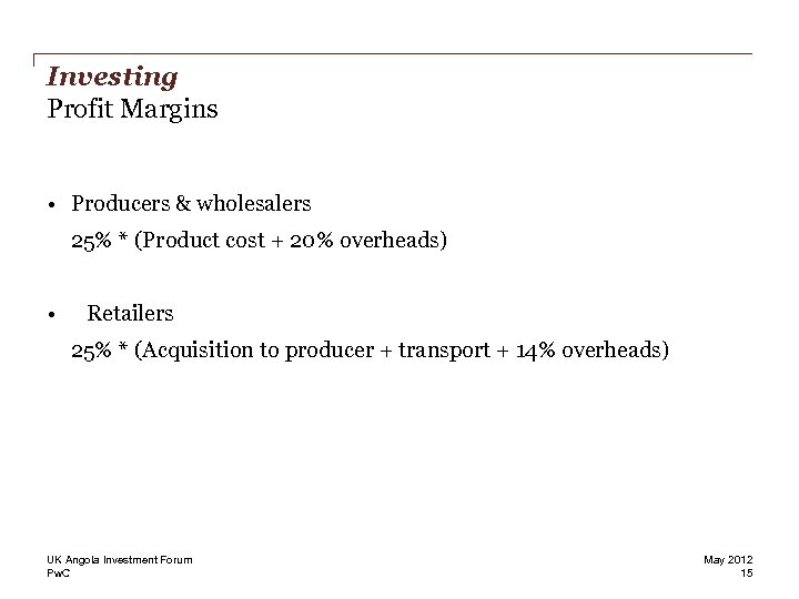 Investing Profit Margins • Producers & wholesalers 25% * (Product cost + 20% overheads)