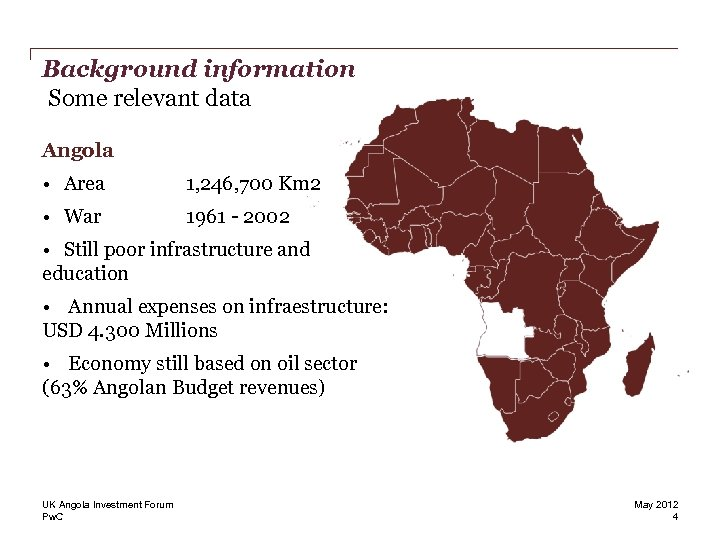 Background information Some relevant data Angola • Area 1, 246, 700 Km 2 •