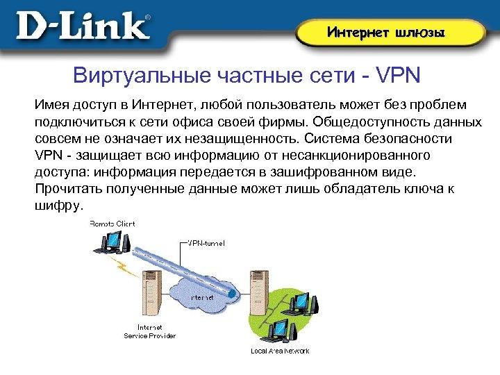 Интернет шлюзы Виртуальные частные сети - VPN Имея доступ в Интернет, любой пользователь может