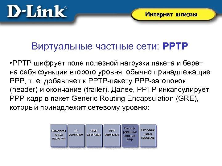 Интернет шлюзы Виртуальные частные сети: PPTP • PPTP шифрует полезной нагрузки пакета и берет