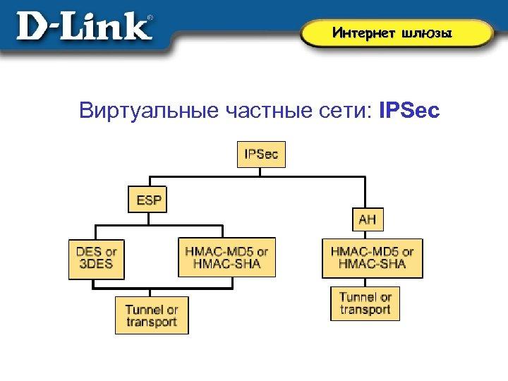 Интернет шлюзы Виртуальные частные сети: IPSec