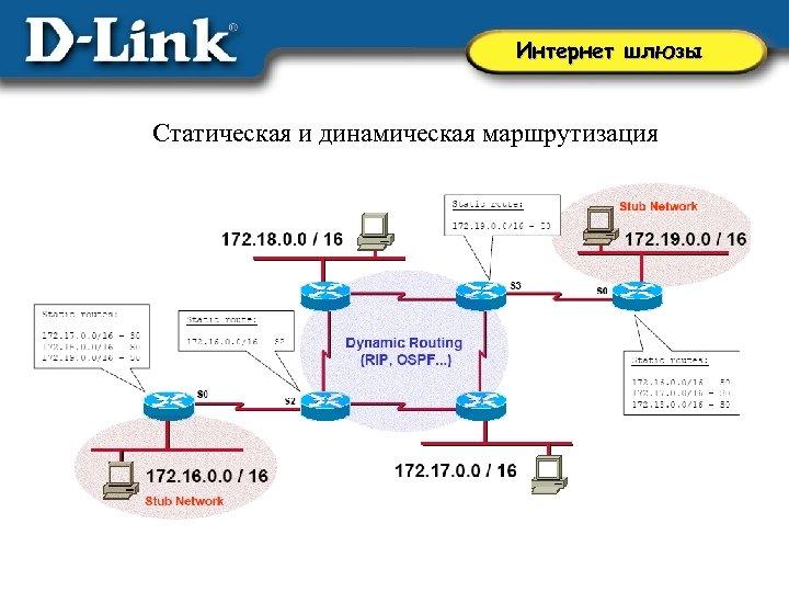 Интернет шлюзы Статическая и динамическая маршрутизация