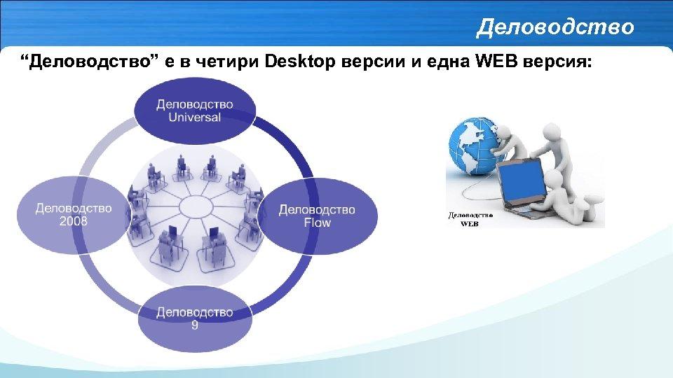 """Деловодство """"Деловодство"""" е в четири Desktop версии и една WEB версия:"""