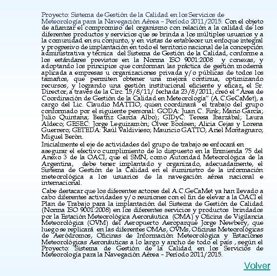 Proyecto: Sistema de Gestión de la Calidad en los Servicios de Meteorología para la