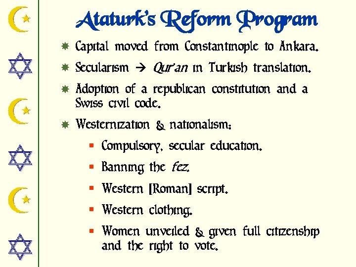 Ataturk's Reform Program Capital moved from Constantinople to Ankara. Secularism Qur'an in Turkish translation.