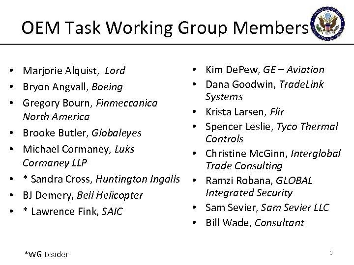 OEM Task Working Group Members • Marjorie Alquist, Lord • Bryon Angvall, Boeing •