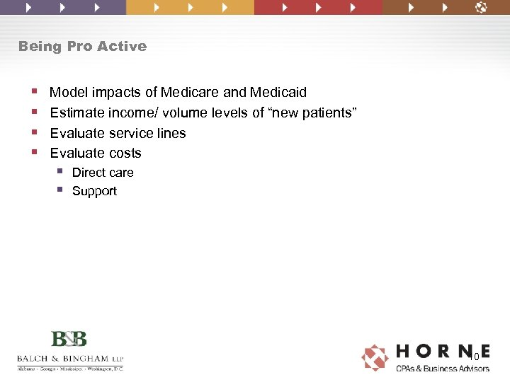 Being Pro Active § § Model impacts of Medicare and Medicaid Estimate income/ volume