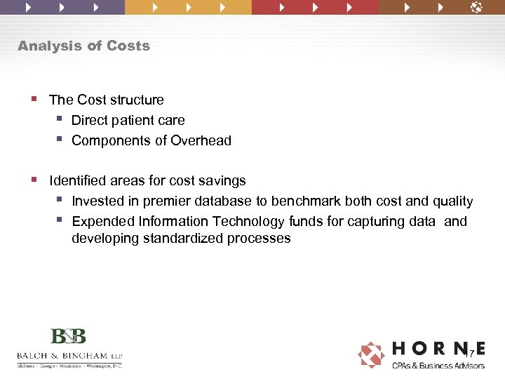 Analysis of Costs § The Cost structure § Direct patient care § Components of