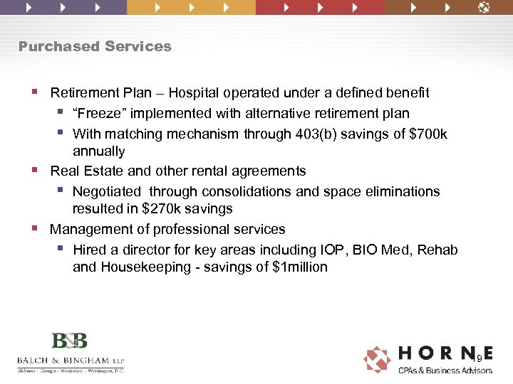 """Purchased Services § Retirement Plan – Hospital operated under a defined benefit § """"Freeze"""""""