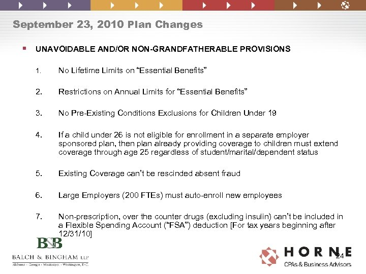 September 23, 2010 Plan Changes § UNAVOIDABLE AND/OR NON-GRANDFATHERABLE PROVISIONS 1. No Lifetime Limits