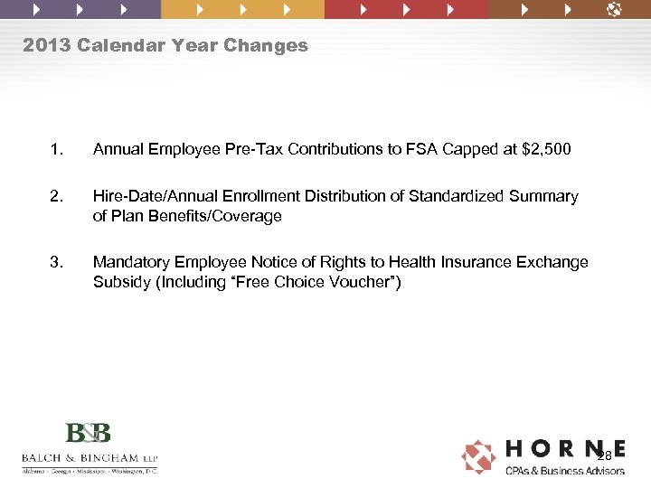 2013 Calendar Year Changes 1. Annual Employee Pre-Tax Contributions to FSA Capped at $2,