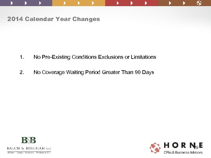 2014 Calendar Year Changes 1. No Pre-Existing Conditions Exclusions or Limitations 2. No Coverage