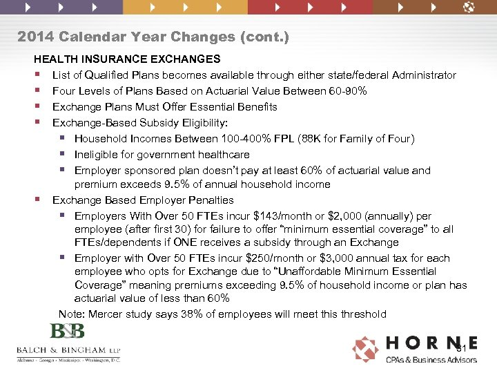 2014 Calendar Year Changes (cont. ) HEALTH INSURANCE EXCHANGES § List of Qualified Plans