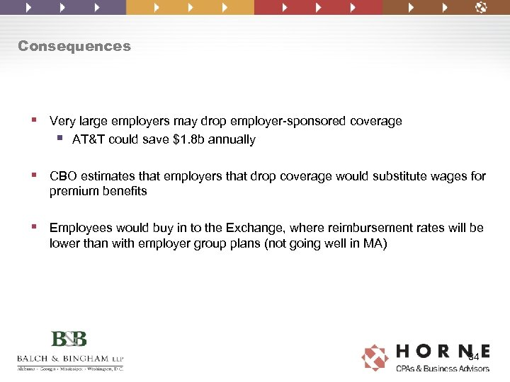 Consequences § Very large employers may drop employer-sponsored coverage § AT&T could save $1.