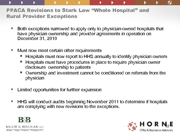 """PPACA Revisions to Stark Law """"Whole Hospital"""" and Rural Provider Exceptions § Both exceptions"""