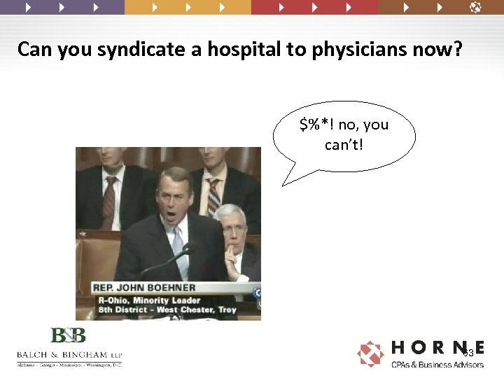 Can you syndicate a hospital to physicians now? $%*! no, you can't! 63