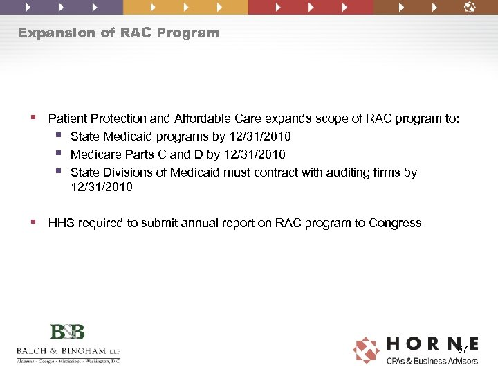Expansion of RAC Program § Patient Protection and Affordable Care expands scope of RAC