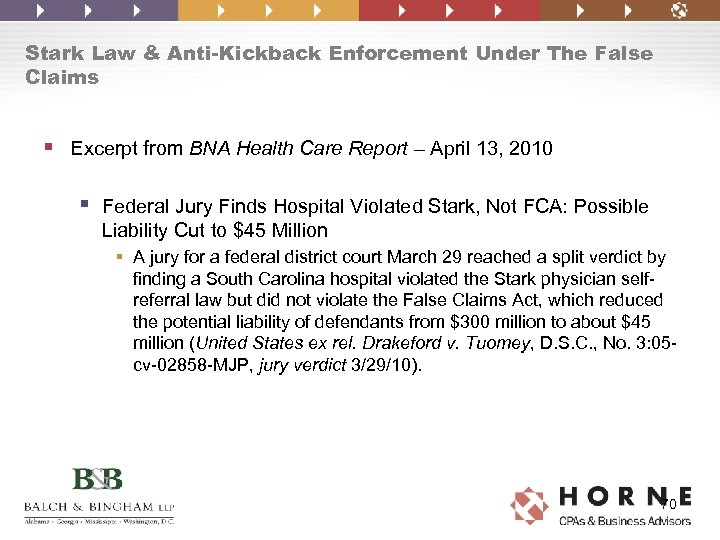 Stark Law & Anti-Kickback Enforcement Under The False Claims § Excerpt from BNA Health