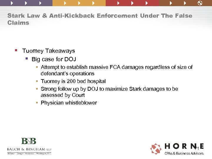 Stark Law & Anti-Kickback Enforcement Under The False Claims § Tuomey Takeaways § Big