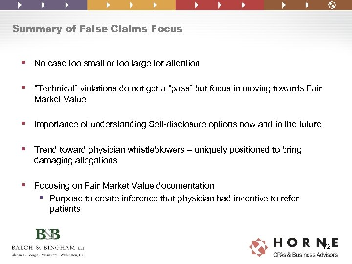 Summary of False Claims Focus § No case too small or too large for