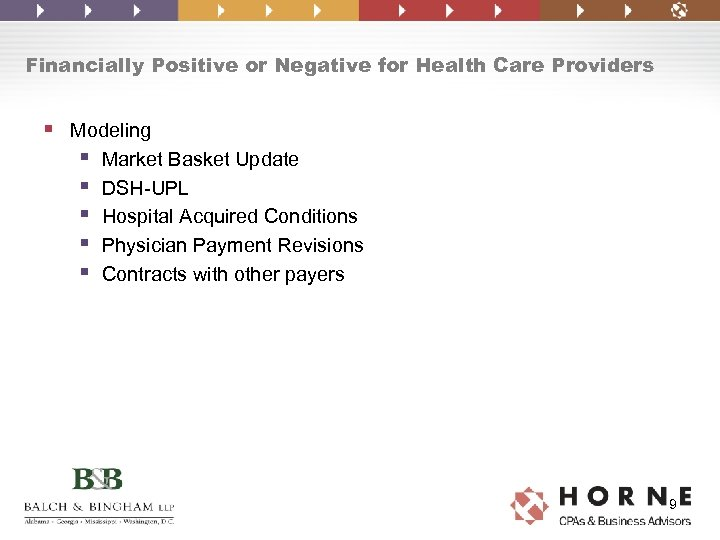 Financially Positive or Negative for Health Care Providers § Modeling § Market Basket Update