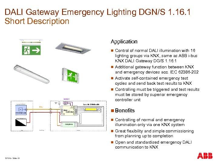DALI Gateway Emergency Lighting DGN/S 1. 16. 1 Short Description Application n Control of