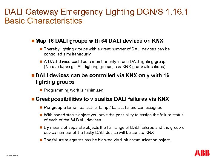 DALI Gateway Emergency Lighting DGN/S 1. 16. 1 Basic Characteristics n Map 16 DALI