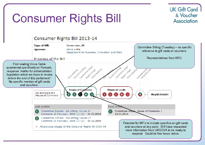 Consumer Rights Bill Committee Sitting (Tuesday) – no specific reference to gift cards or