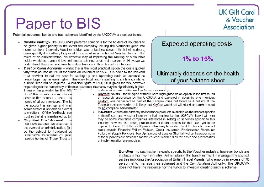 Paper to BIS Expected operating costs: 1% to 15% Ultimately depends on the health
