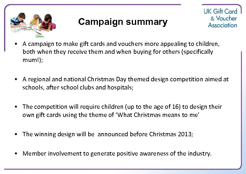 Campaign summary • A campaign to make gift cards and vouchers more appealing to