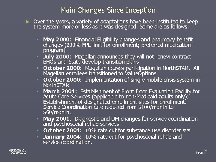 Main Changes Since Inception ► Over the years, a variety of adaptations have been