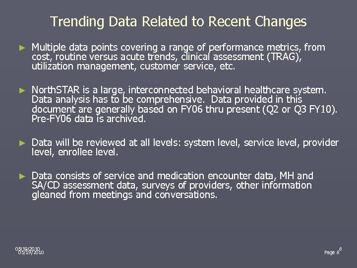 Trending Data Related to Recent Changes ► Multiple data points covering a range of