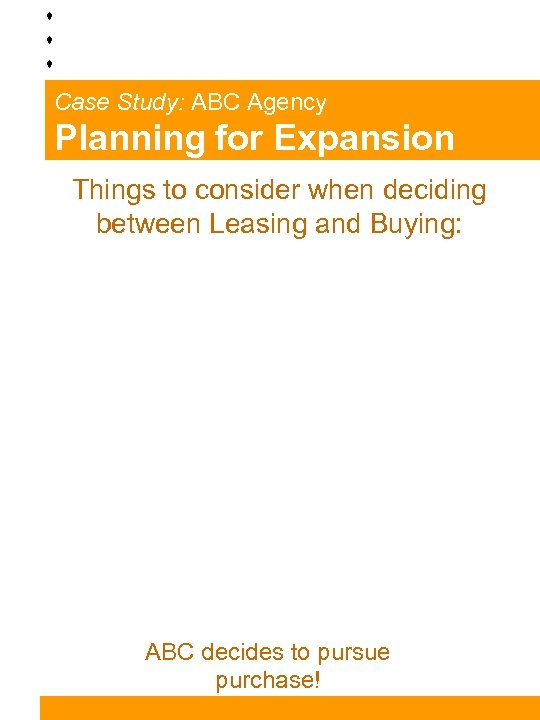 Case Study: ABC Agency Planning for Expansion Things to consider when deciding between Leasing