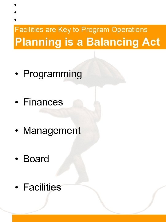 Facilities are Key to Program Operations Planning is a Balancing Act • Programming •