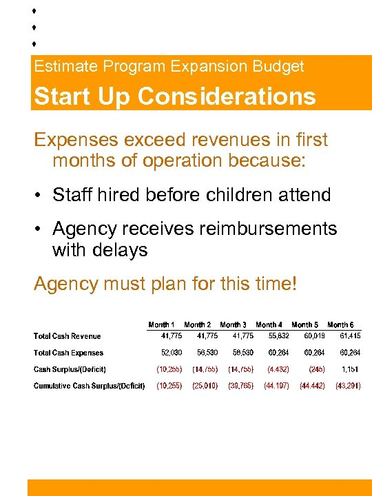 Estimate Program Expansion Budget Start Up Considerations Expenses exceed revenues in first months of
