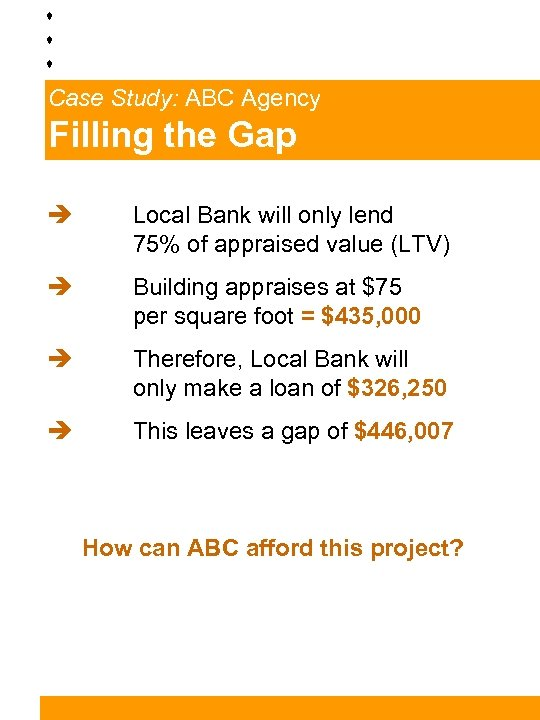 Case Study: ABC Agency Filling the Gap è Local Bank will only lend 75%