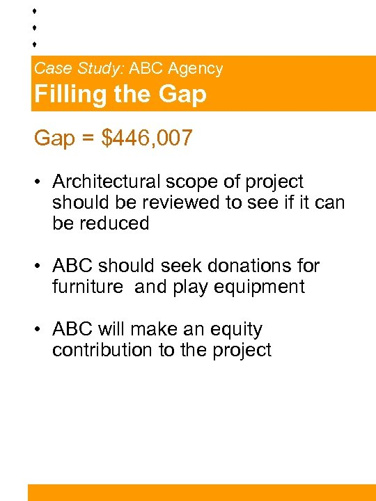 Case Study: ABC Agency Filling the Gap = $446, 007 • Architectural scope of