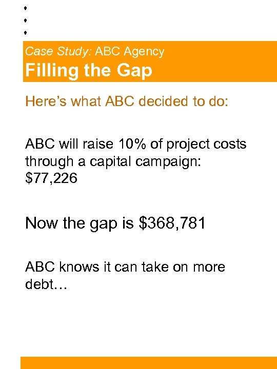 Case Study: ABC Agency Filling the Gap Here's what ABC decided to do: ABC