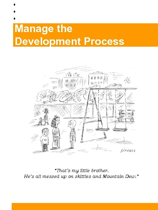 """Manage the Development Process """"That's my little brother. He's all messed up on skittles"""