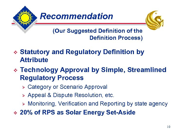 Recommendation (Our Suggested Definition of the Definition Process) v v Statutory and Regulatory Definition