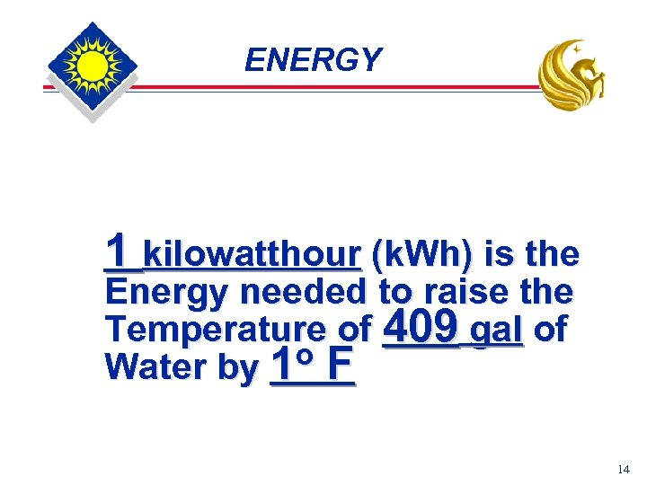 ENERGY 1 kilowatthour (k. Wh) is the Energy needed to raise the Temperature of