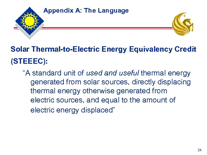 "Appendix A: The Language Solar Thermal-to-Electric Energy Equivalency Credit (STEEEC): ""A standard unit of"